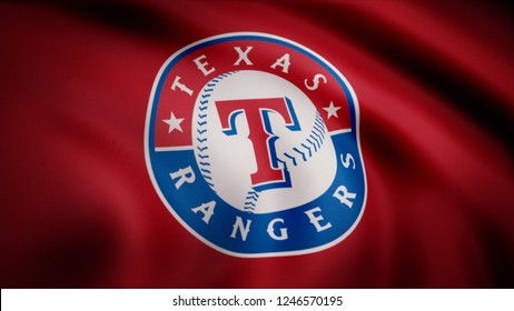 USA - NEW YORK, 12 August 2018: Waving flag with Texas Rangers professional team logo. Close-up of waving flag with Baseball Texas Rangers club logo, seamless loop. Editorial footage