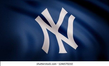 USA - NEW YORK, 12 August 2018: Waving flag with New York Yankees professional team logo. Close-up of waving flag with Baseball New York Yankees club logo, seamless loop. Editorial footage
