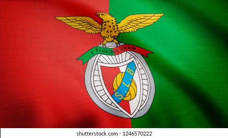 USA - NEW YORK, 12 August 2018: Benfica flag is waving. Close-up of waving flag with S.L. Benfica football club logo, seamless loop. Editorial footage
