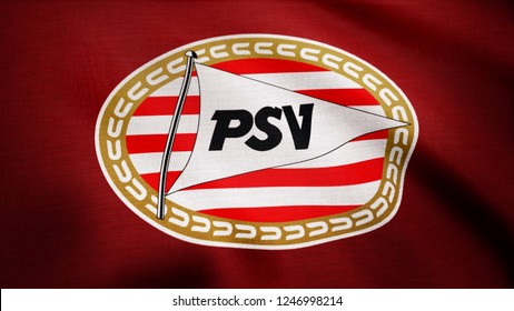 USA - NEW YORK, 12 August 2018: Eindhoven, Nederland- Animated logo of Nederland football club PSV Eindhoven. Editorial footage