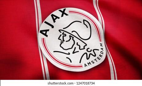 USA - NEW YORK, 12 August 2018: Ajax FC flag is waving. Close-up of waving flag with AFC Ajax football club logo, seamless loop. Editorial footage