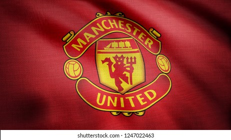 USA - NEW YORK, 12 August 2018: Waving FC Manchester United flag. Close-up of waving flag with Manchester United F.C. football club logo, seamless loop. Editorial footage