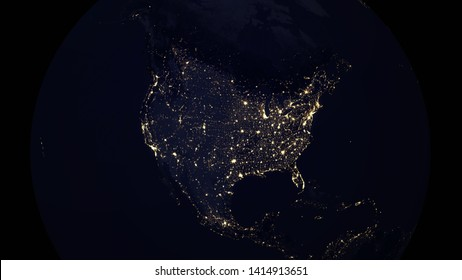 USA North American map city lights  night, 3d illustration - Elements of this image furnished by NASA