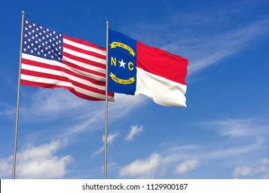 USA and North Carolina flags over blue sky background. 3D illustration