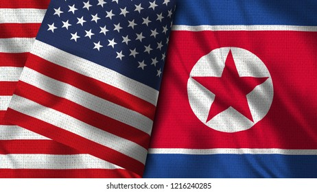 USA and North Korea - 3D illustration Two Flag Together - Fabric Texture