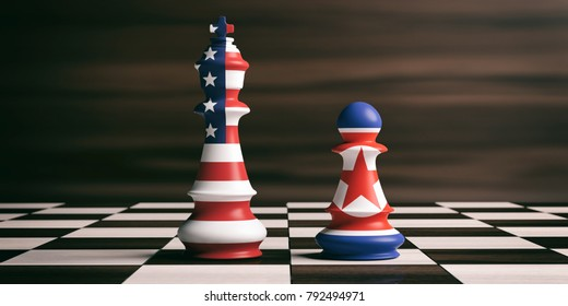 USA and North Korea relationship concept. US America and North Korea flags on chess pieces on a chess board, brown wooden background. 3d illustration