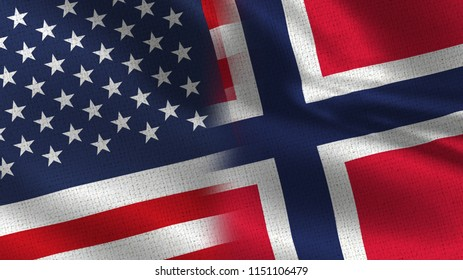 Usa and Norway Realistic Half Flags Together