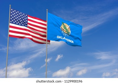 USA and Oklahoma flags over blue sky background. 3D illustration