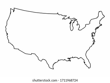 USA outline map isolated on white background