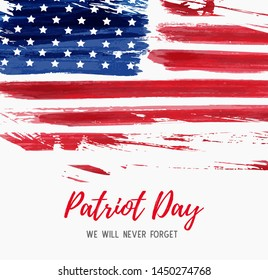 USA Patriot day background. Abstract grunge brushed flag with text. Template for banner, invitation, poster, flyer, etc.