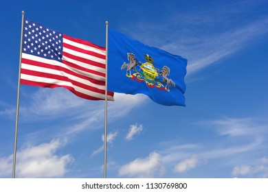 USA and Pennsylvania flags over blue sky background. 3D illustration