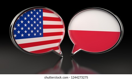 USA and Poland flags with Speech Bubbles. 3D illustration