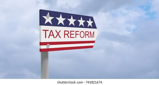 USA Politics Concept: Tax Reform Direction Sign With US Flag, 3d illustration against cloudy sky