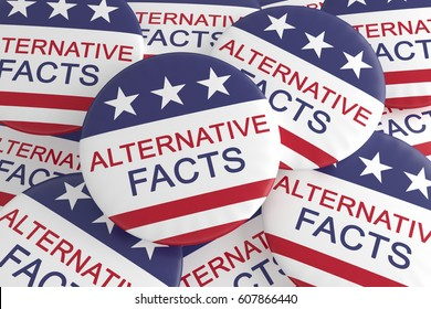 USA Politics Media News Concept Badge: Pile With Alternative Facts Button With US Flag, 3d illustration