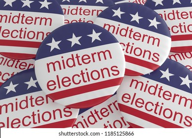 USA Politics News Badges: Pile of Midterm Elections Buttons With US Flag, 3d illustration