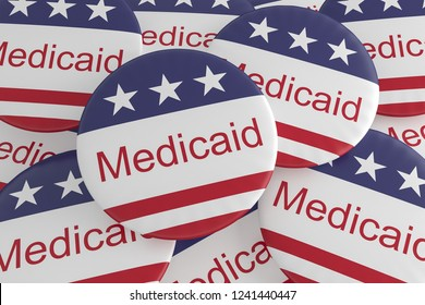 USA Politics News Badges: Pile of Medicaid Buttons With US Flag, 3d illustration