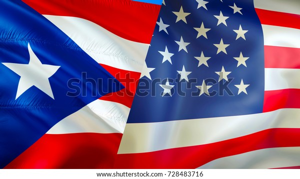 Usa Puerto Rico Flags 3d Waving Stock Illustration 728483716