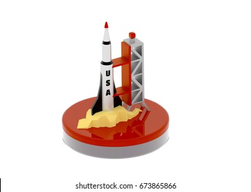 USA rocket on launch pad 3D illustration