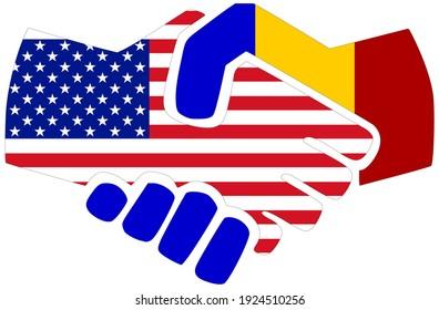 USA - Romania: Handshake, symbol of agreement or friendship