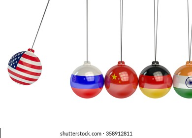 USA, Russia, China, Germany and India political conflict concept
