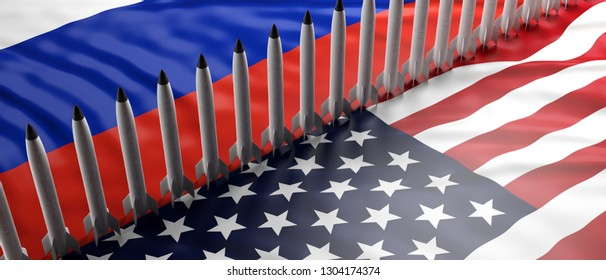USA and Russia nuclear weapons. Rockets, missiles on America and Russian flags background. 3d illustration