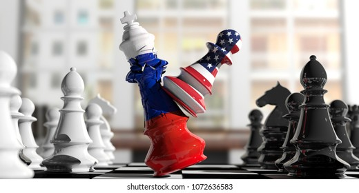 USA and Russia relations. US America chess pawn hits Russia chess king on a chessboard, blur background. 3d illustration
