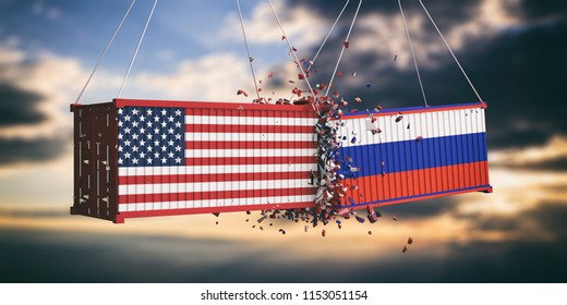 USA and Russia trade war concept. US of America and Russian flags crashed containers on sky at sunset background. 3d illustration