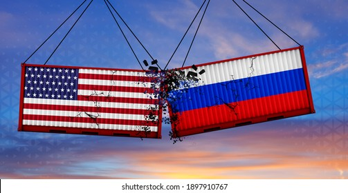 USA and Russia trade war concept. US of America and Russian flags crashed containers on sky at sunset background. 3d illustration.