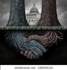 USA secret politics and deep state clandestine government deal manipulating the laws or system of politics as a covert plan to secretly influence the leadership with 3D illustration elements.