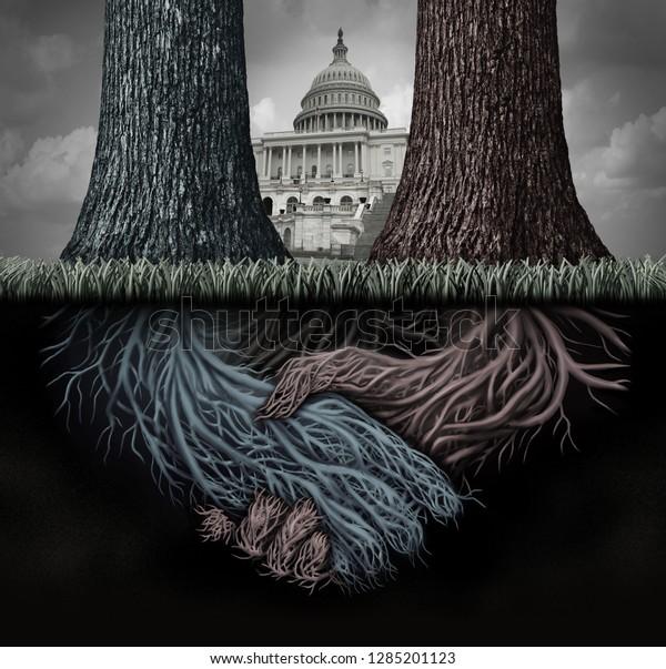 Die Geheimpolitik der USA und die vertiefte Staatsregierung manipulieren Gesetze oder politische Systeme als verdeckten Plan, die Führung heimlich mit 3D-Illustrationselementen zu beeinflussen.