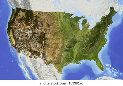 USA. Shaded relief map of the conterminous USA. Surrounding territory greyed out. Colored according to elevation and dominant vegetation. Includes clip path for the state area.