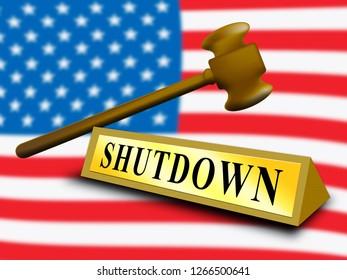 Usa Shutdown Gavel Political Government Shut Down Means National Furlough. Senate And President In Washington DC Create Closure