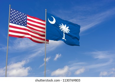 USA and South Carolina flags over blue sky background. 3D illustration