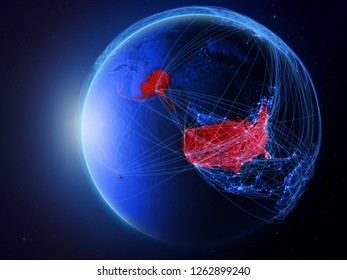 USA from space on planet Earth with blue digital network representing international communication, technology and travel. 3D illustration. Elements of this image furnished by NASA.