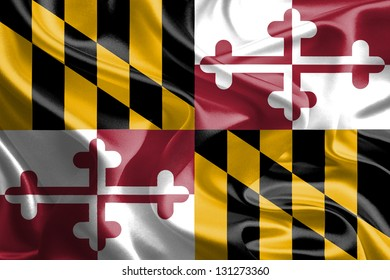 USA State Flags: Waving Fabric Flag of Maryland