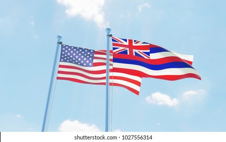 USA and state Hawaii, two flags waving against blue sky. 3d image