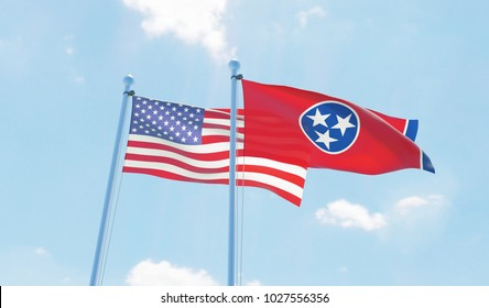 USA and state Tennessee, two flags waving against blue sky. 3d image