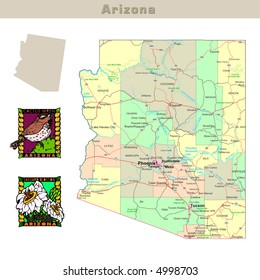 USA states series: Arizona. Political map with counties, roads, state's contour, bird and flower