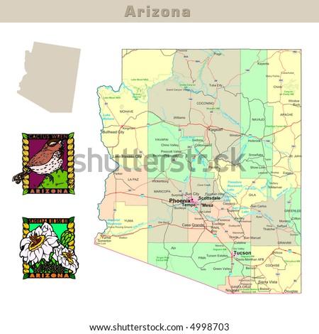 Usa States Series Arizona Political Map Stock Illustration Royalty