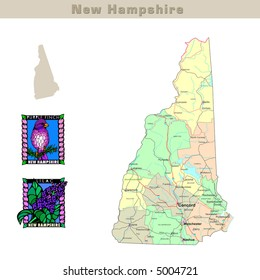 USA states series: New Hampshire. Political map with counties, roads, state's contour, bird and flower