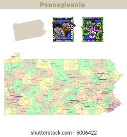 USA states series: Pennsylvania. Political map with counties, roads, state's contour, bird and flower