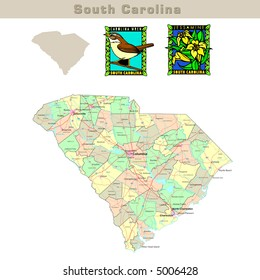 USA states series: South Carolina. Political map with counties, roads, state's contour, bird and flower