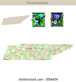 USA states series: Tennessee. Political map with counties, roads, state's contour, bird and flower