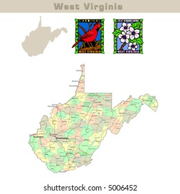 USA states series: West Virginia. Political map with counties, roads, state's contour, bird and flower