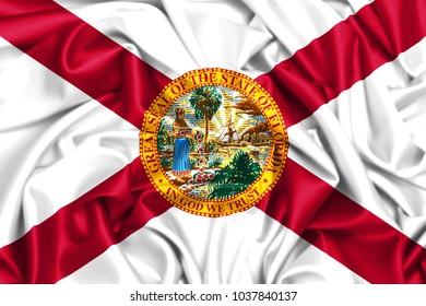 USA states set-3d waving flag of Florida, silk fabric texture background