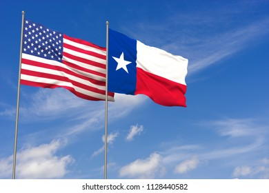 USA and Texas flags over blue sky background. 3D illustration