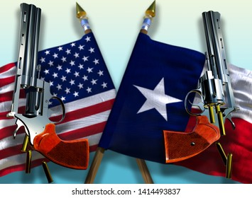 USA and Texas state flag on gradient background with two steel Colt revolvers Guns with opened cylinders falling bullets magnum 357 United States of America against of free weapon trade 3d render