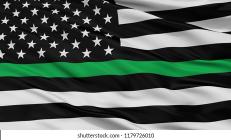 Usa Thin Green Line Closeup Flag, 3D Rendering