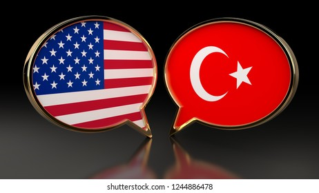 USA and Turkey flags with Gold Speech Bubbles. 3D illustration