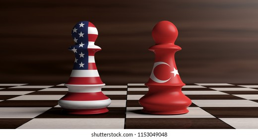 USA and Turkey relations. American and Turkish flags on chess pawns on a chessboard. 3d illustration
